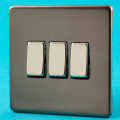 Varilight 3 Gang 1 or 2 Way 10A Rocker Light Switch Screwless Pewter/Slate Grey Dec Switch - XDR3S